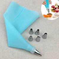piping set baking Canada - 8pcs Set Silicone Icing Piping Cream Pastry Bag with 6pcs Stainless Steel Nozzle Sets Cake DIY Decorating Baking Tool Bakeware