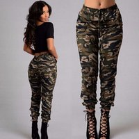 Wholesale camouflage trousers for women - Womens Fashion Drawstring Slim Camouflage Pants For Female Plus Size Green Print Street Long Trousers Cargo Pants S-5XL