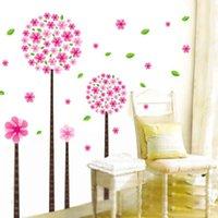 виниловые наклейки оптовых-Красивые розовые Dandelio дерево стены наклейки домашнего украшения Пандора цветы съемный искусство винил стены надписи DIY