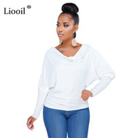 432fc8f8a7c2c Liooil Black White T Shirt Summer Tops For Women Sexy Club Batwing Sleeve V  Neck Loose Party African Woman Short Shirts Crop Top