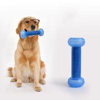 ingrosso palle per barbells-Giocattoli dell'animale domestico Ghiaccio giocattolo congelato Pulizia dei denti Saggezza Tossica insapore Sicurezza Anti Bite Bone Barbell Loop tipo di palla 18 gg gg