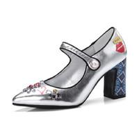 ayakkabı düğmeleri toptan satış-Bahar Ayakkabı Kadınlar gümüş mavi Düğme Ayakkabı kristal rhinestone yüksek Topuklu baskı desen Pist zapatos mujer Pompalar