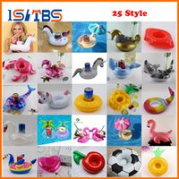 Wholesale black pool lights - 25 Style Flamingo Unicorn Drink Cup Holder Swan Inflatable Pool Float Beach Party Water Fun Toys Beverage Boat boia