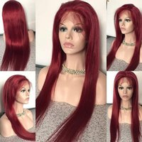 Wholesale 99j wigs - Human hair wig 99j Brazilian Burgundy Red Lace Front Wigs Virgin Brazilian Natural Straight Human Full Lace Wigs For Black Women