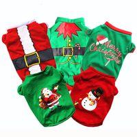 roupas de natal venda por atacado-Presentes bonitos do animal de estimação do Natal do cão Roupa 5 cores da camisa do cão vestuário de algodão Vestuário T Macacão filhote de cachorro Outfit Pet Supplie DHL grátis