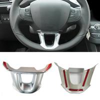 accesorios peugeot al por mayor-Cromado ABS Etiqueta Engomada del volante Adornos de marco decorativo Lentejuelas Etiqueta adhesiva para Peugeot 208 2015-2018 2008 2014-2017