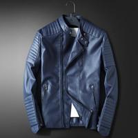 abrigos de cuero rojo para hombre. al por mayor-Al por mayor-LEDINGSEN Mens azul chaqueta de cuero de la motocicleta de los hombres Slim Fit rojo Casual chaqueta abrigo otoño invierno cuero ropa rompevientos