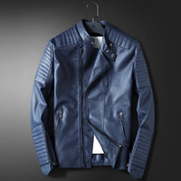 Wholesale- LEDINGSEN Mens Blue Motorcycle Leather jacket Men Slim Fit Red Casual Jacket Coat Autumn Winter Leather Clothing Windbreaker