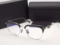 schwarze quadratische brillengläser großhandel-Schwarzes silbernes quadratisches Brillen-Glas-optisches Feld-Mannluxuxdesigneraugengläser Eyewear unisex neu mit boxE