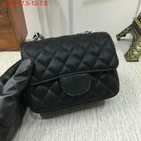 Wholesale Canvas Bags Colour - Famous designer brand new caviar leather Mini Flap Black Single Quilted flap crossbody shoulder Cluth evening purse Messenger bag 8 colours