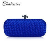Chaliwini Ribbon Flap Women Handbags And Purses Satin Blue Female Party  Toiletry Dinner Bag Wallet Shoulder Evening Clutch Bag Y1890401 d899bb2eb856