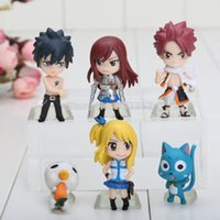 Wholesale Anime Figure Fairy Tail - 6 pcs set Anime Fairy Tail 3-7cm PVC Figure Model Natsu   Gray   Lucy   Erza pendats keychain keyrings Movie & Games