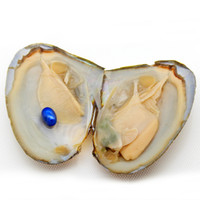 Wholesale bulk elements - Oval Oyster Pearl 2018 New 6-8mm #9 Dark Blue Freshwater Natural Pearl Gift Bulk Decoration Vacuum Packaging Wholesale Free Shipping