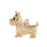 ingrosso accessori animali-Fashion Jewelry Charm Gold Dog Puppy Brooch Nuovo design Cute Animal Jacket Accessories Ornaments