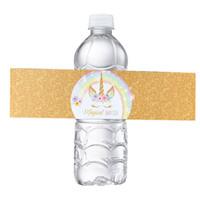 Wholesale sticker happy birthdays - Unicorn Bottle Wraps-Happy Birthday Water Bottle Label Rainbow Unicorn Themed Party Favors, Set of 24 Waterproof Stickers