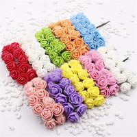 gelin çelenkleri çiçekler toptan satış-144 adet Mini Köpük Gül Yapay Çiçekler Ev Düğün Için Araba Dekorasyon DIY Ponpon Çelenk Dekoratif Gelin Çiçek Sahte Çiçek