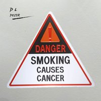Wholesale Sticker Danger - DL- Danger smoking causes cancer Triangle tin sign house rules wall art bar decor garage poster
