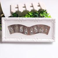 ingrosso strumento di chiodi artificiali-10 pz / set falso nail art falso finger tips pieno artificiali unghie decorazione di strass falsi adesivi per unghie acrilico nail art strumenti