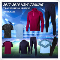 Wholesale Boys Brown Jacket - 2018 MEN Training KITS outfits Tracksuits Jacket Pants DE BYUYNE STERLING KUN AGUERO KOMPANY KID jersey HOT BOY City