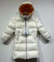meninas quentes para baixo jaqueta venda por atacado-QUENTE NOVO crianças para baixo jaqueta menino longa seção de roupas de inverno novo de prata Mengjiakou grandes crianças meninas bebê espessamento 1 PCS