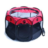 evcil hayvan oyuntayları toptan satış-Taşınabilir Pet Çadır Katlanır Çit Oyun Parkı Kulübesi Yavru Köpek Kafesi Havalandırma Egzersiz Yumuşak Sandık Yatağı Uyku Çadır