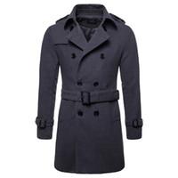 chaqueta de chaquetón para hombre al por mayor-Abrigo de lana de los hombres Abrigos largos de lana caliente para hombre Chaqueta Casual Casaco masculino Palto Peacoat Abrigo de cuello largo Chaqueta de lana larga