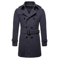 mens peacoat ceket toptan satış-Yün Ceket Erkekler Uzun Sıcak Yün Palto Erkek Casual Ceket Casaco Masculino Palto Peacoat Palto Aşağı Yaka Uzun Yün Ceket