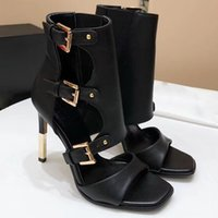 Wholesale thin strap open toe heels - Autumn new Gladiator Roman Sandals Womens Sexy High Heels Open Toe Thin Heel Short Boots Stilettos Nightclub Shoes Fall