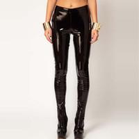 Wholesale patent length - New PU Leather Pants Women 2017 Autumn Low Waist Patent Leather Elastic Skinny Pencil Pants Plus Size Slim Black Trousers