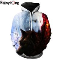 erkek çocuklar hoodies toptan satış-Toptan-Kurt Baskılı Hoodies Erkekler 3d Hoodies Marka Tişörtü Çocuk Ceketler Kaliteli Kazak Moda Eşofman Hayvan Streetwear Out Coat