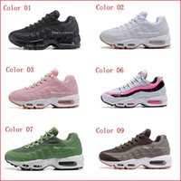 Wholesale Womens Air - Womens Sneakers Shoes Air Cushion 95 Running Shoes Black Red White Sports Trainer Women Surface Breathable Woman Sports Casual Shoes