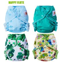 Wholesale Wholesale Newborn Cloth Diapers - Happy Flute Healthy Organic Cotton Newborn Diapers Tiny AIO Cloth Diaper, Double Gussets Waterproof PUL Fit 3-6KG Baby