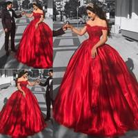 mütevazı gece elbisesi kırmızı toptan satış-2018 Ile Modest Kırmızı Quinceanera Elbiseler Off-Omuz Dantel Aplikler Sequins Balo Sevgiliye Büyüleyici Abiye giyim Gelinlik Modelleri