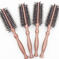 Wholesale types hair roll online - Curly Hair Comb High Quality Wood Handle Heat resistant Roll Comb Hair Brush Fluffy Comb Hairdressing Styling Tool