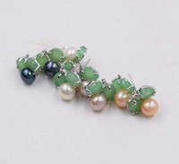 нефрит цветок серьги оптовых-one pair white/black/pink/purple freshwater pearl earrings coin green jade flower 6-7mm FPPJ wholesale  nature