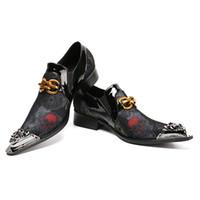 vogue männer großhandel-Christia Bella Markendesignerin der britischen Vogue Herren Slipper Slipper aus echtem Leder mit Metallkappe für formelle Hochzeitsfeier