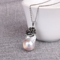 Wholesale Crystal Fresh Water - Pearl Pendants Necklace 2018 natural Fresh water irregular Pearl Fashion Crystal Mosaic Hollow out Locket Clavicle Chain Necklace wholesale