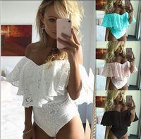 ingrosso body shaper jumpsuits-Summer Lace Floral Tute da donna collo senza maniche Curve Ruffle Design Body a vita alta Donna TOP Shaper Abbigliamento S-XL Taglia