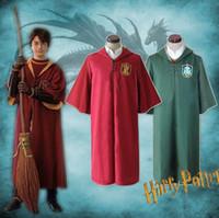 Wholesale harry potter slytherin robes online - harry potter Cape Quidditch Robe Cloak Gryffindor Slytherin Quidditch Robe Cloak cosplay costume Magic Robe KKA6151
