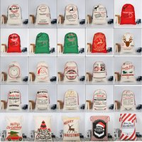 Wholesale christmas decorations online - Christmas santa sacks Gift Bags Large Organic Heavy Canvas Bag Drawstring Bag With Reindeers Santa Claus Sack Bags Christmas Decorations