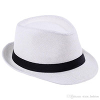 Wholesale Straw Hat Womens Fashion - 200pcs lot Fashion Womens Mens Unisex Fedora Trilby Gangster Cap Summer Beach Sun Straw Panama Hat Couples Lovers Hat