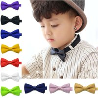 Wholesale Infant Bowtie - New Fashion Children Kids Boys Toddler Infant Solid Bowtie Pre Tied Wedding Bow Tie Necktie H9