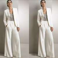 Wholesale Pink Dress Pants - Modern White Three Pieces Mother Of The Bride Pant Suits Silver Sequined Wedding Guest Dress Plus Size Mother Dresses With Jackets