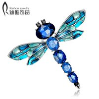 Wholesale vintage dragonfly brooch rhinestones - Vintage Design Shinny 3 Colors Crystal Rhinestone Dragonfly Brooches for Women Dress Scarf Brooch Pins Jewelry Accessories Gift