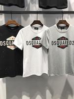 Wholesale canvas brand t shirts - DT317# Hip Hop Luxury Brand DQ2 Mens T-Shirt Summer Designer T Shirt British French Style Short Sleeves Men's Tee Hommes Chemise