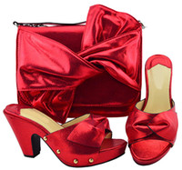 96438ee9d0984 Nice looking red women pumps and big bag with bowtie design african shoes  match handbag set for dress YM006,heel 9.5CM