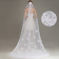 Wholesale new best selling veil for sale - Group buy New Best Selling One Layer Long Bridal Veils with Lace Appliqued Lace Bridal Veils White Ivory Veils for Wedding CPA066