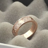 Wholesale three heart rings women - fashion jewelry Stainless steel rose gold three rows diamonds all-diamond ring couple Gypsophila ring diamond ring for woman and man