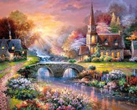 Wholesale Wholesale Acrylic Spray - Oil Painting Frameless Landscape Small bridge DIYPainting By Numbers Acrylic Paint On Canvas Handpainted Home Decor