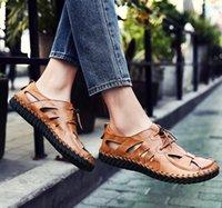 fd823a2efc7640 2018 Hot Sale Men s Summer Sandals Soft Bottom Hole Roman Casual Cow Leather  Sandals For Men Male Beach Shoes Drvier Loafer Sandals